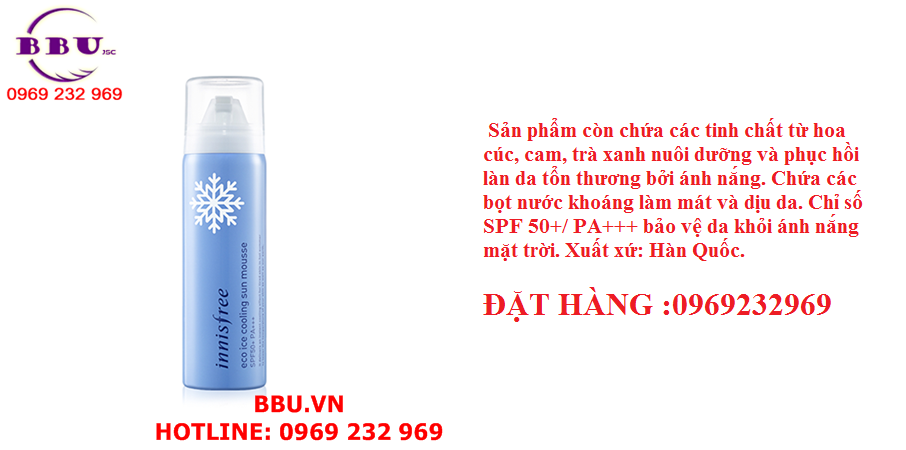 Kem chống nắng dạng xịt Innisfree Eco Ice Cooling Sun Mousse SPF 50+/ PA+++