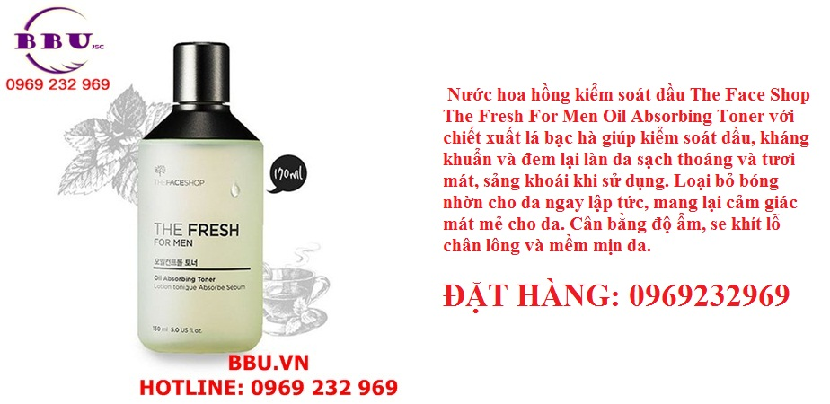 Nước hoa hồng kiểm soát dầu The Face Shop The Fresh For Men Oil Absorbing Toner