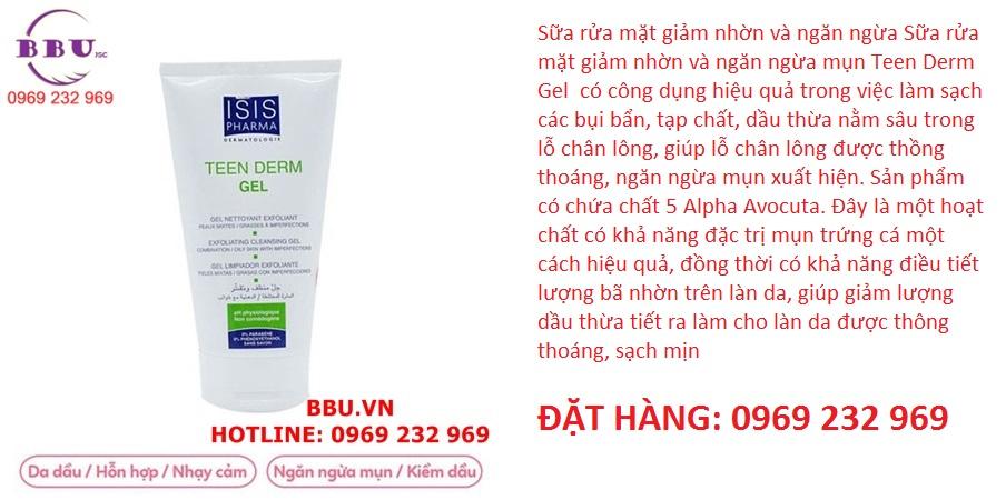 Sữa rửa mặt giảm nhờn và ngăn ngừa mụn Teen Derm Gel 150ml.