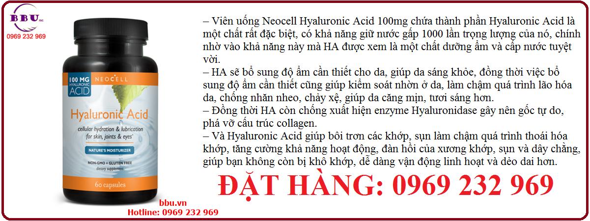 Viên uống Neocell Hyaluronic Acid 100mg