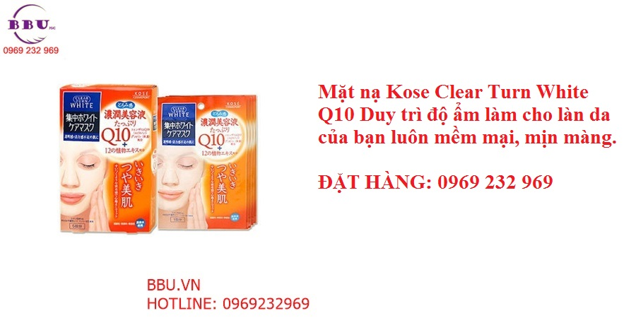 Mặt nạ Kose Clear Turn White Q10- Làm trắng và mịn da
