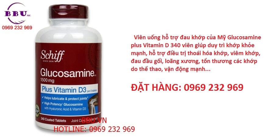 Viên uống hỗ trợ đau khớp của Mỹ Glucosamine plus Vitamin D 340 viên