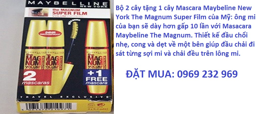 Bộ 2 cây tặng 1 cây Mascara Maybeline New York The Magnum Super Film của Mỹ