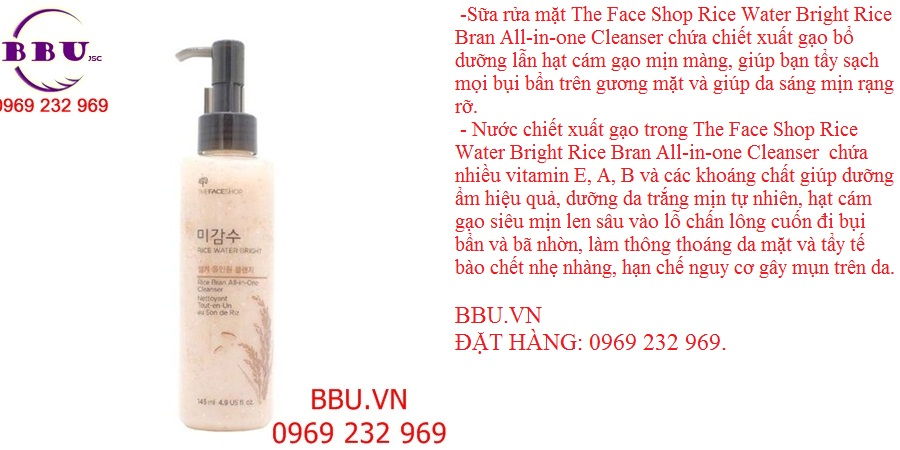 Sữa rửa mặt RICE WATER BRIGHT RICE BRAN ALL-IN-ONE CLEANSER