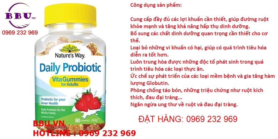 Kẹo dẻo lợi khuẩn Nature's Way Daily Probiotic Vita Gummies For Adults hộp 80 viên của Mỹ