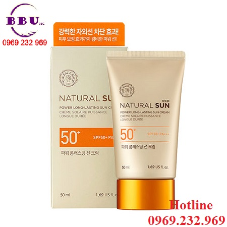 Kem chống nắng the face shop natural sun eco power long-lasting sun cream spf 50 pa +++