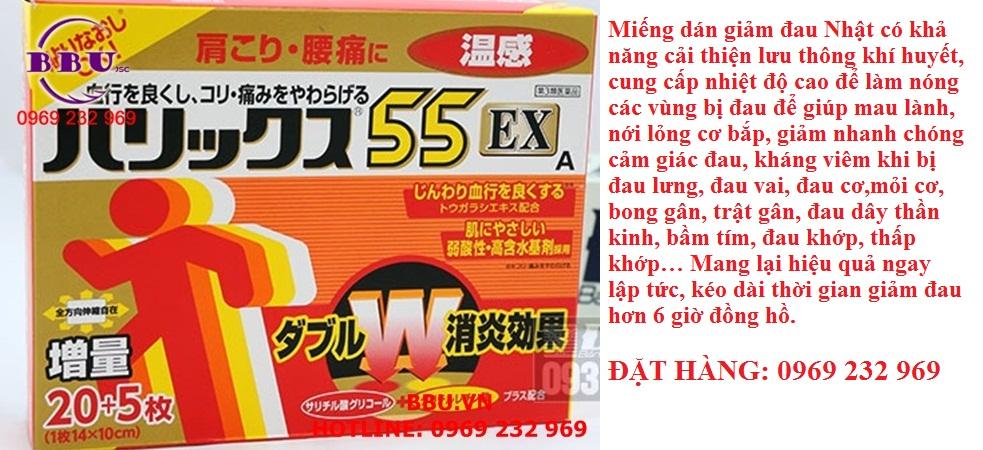 Miếng dán giảm đau Harikkusu 55EX 25 miếng của Nhật