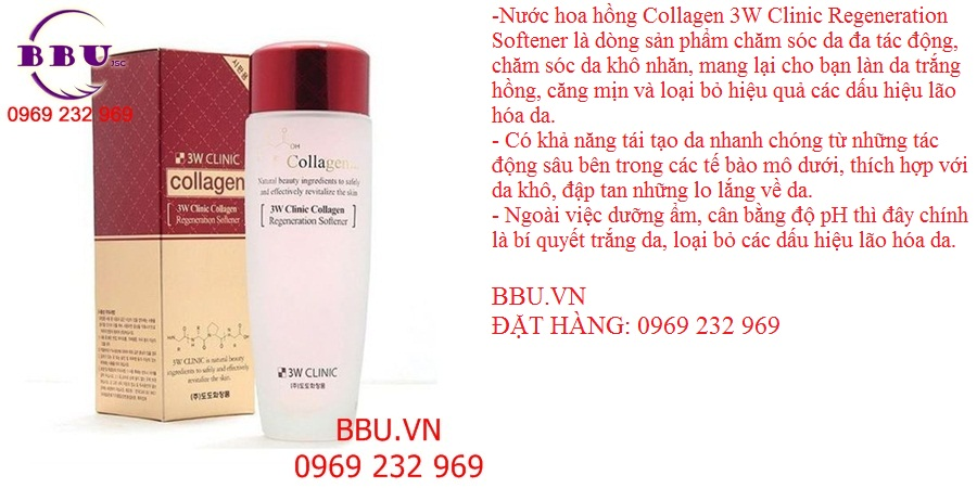 Nước hoa hồng 3W Clinic Collagen Regeneration Softener