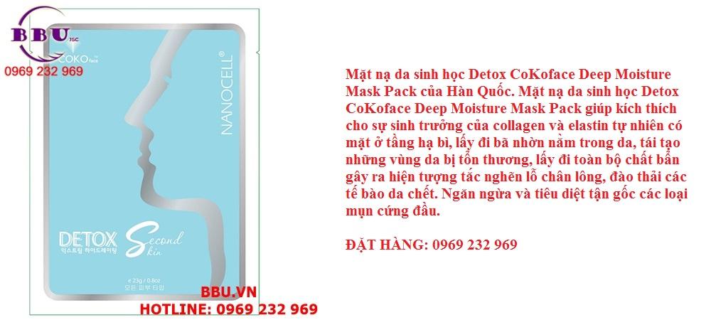 Mặt nạ da sinh học Detox CoKoface Deep Moisture Mask Pack của Hàn Quốc