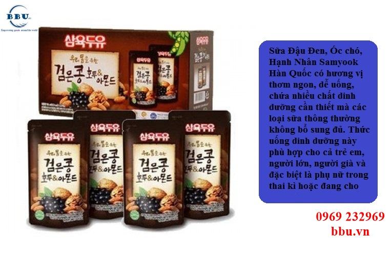 Sữa Đậu Đen, Óc Chó, Hạnh Nhân Samyook Hàn Quốc