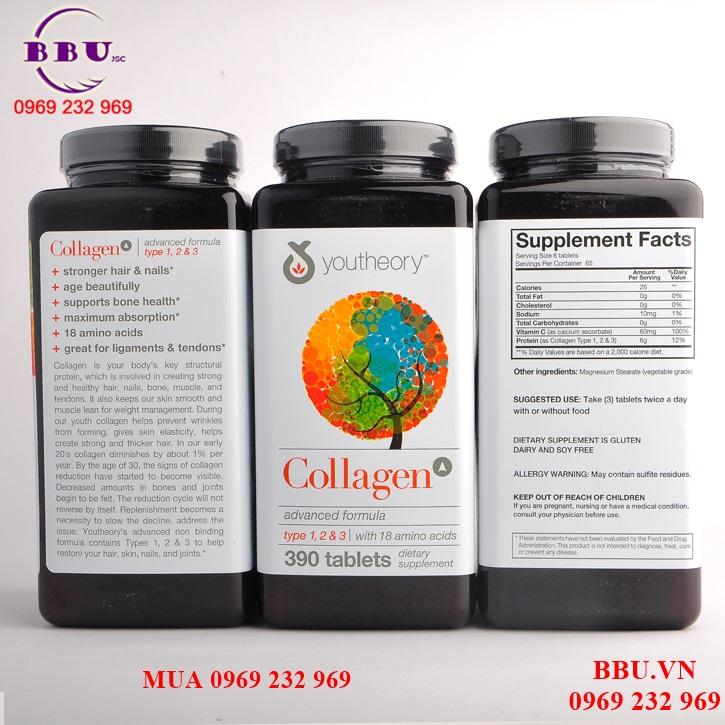 Thành phần Collagen Youtheory 390 viên USA