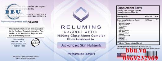 Viên uống trắng da Relumins Advance White 1650mg Glutathione 90 viên