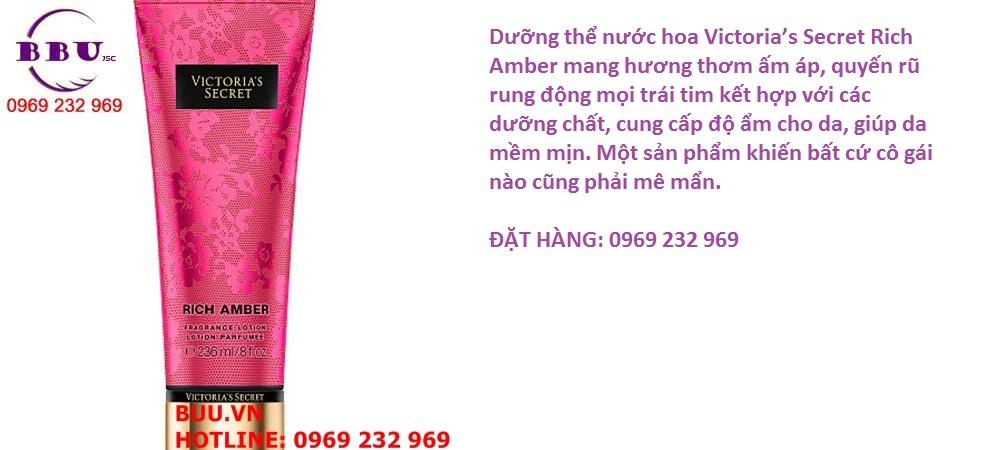 Dưỡng thể nước hoa Victoria's Secret Rich Amber Fragrance Lotion 236 ml của Mỹ