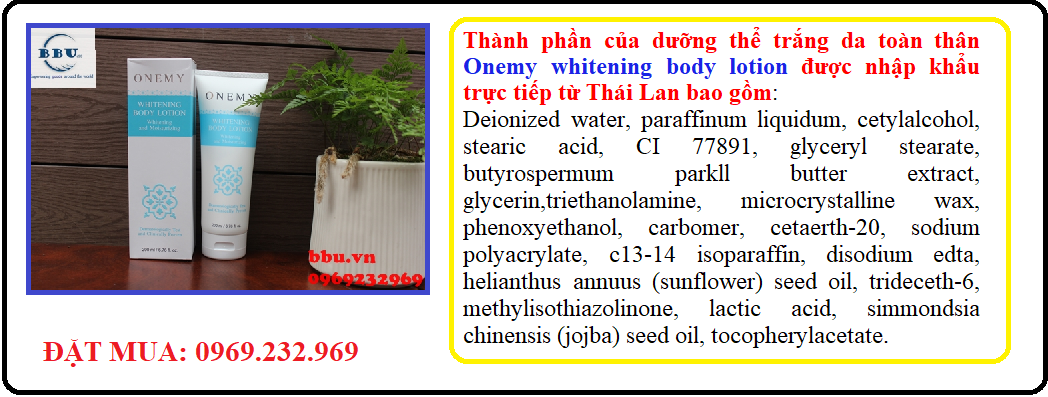 Công dụng dưỡng thể trắng da Onemy Thái lan
