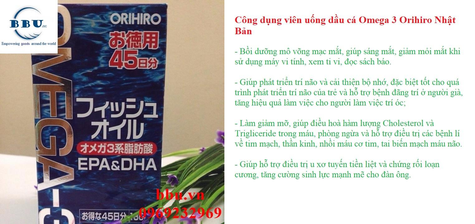 Dầu Cá Omega 3 Orihiro Dạng Viên Nhật Bản