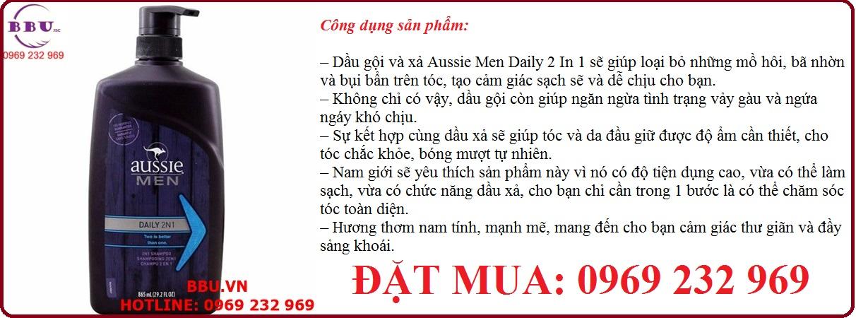 Dầu gội và xả Aussie Men Daily 2 In 1