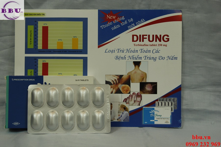 Difung 250mg điều trị nấm da và móng