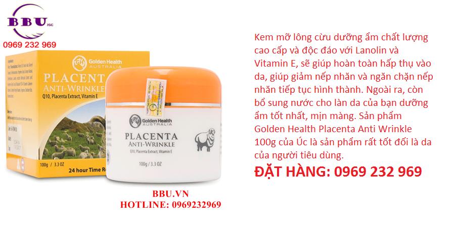 Kem chống nhăn, ngăn ngừa lão hóa Golden Health Placenta Anti Wrinkle 100g của Úc