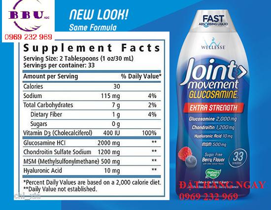Nước uống bổ xương khớp Joint Movement Glucosamine của Mỹ 1000ml