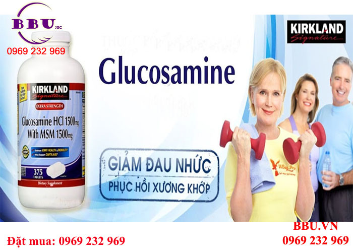 Glucosamine 375 viên HCL 1500mg, With MSM 1500 mg, Kirkland Signature Extra Strength
