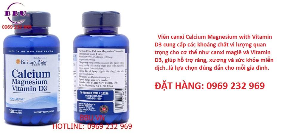 Viên canxi Calcium Magnesium Vitamin D3 Puritan's Pride của Mỹ 120 Viên