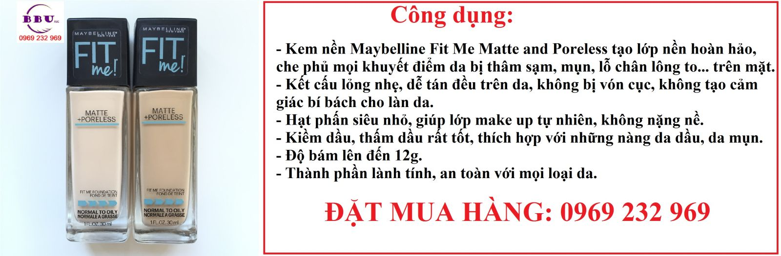 Kem nền Maybelline Fit Me Matte and Poreless 30ml của Mỹ