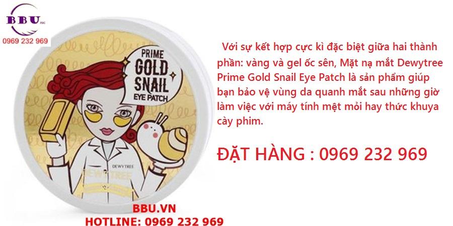 Mặt nạ thâm quầng nhăn mắt Dewytree Prime Gold Snail Eye Patch