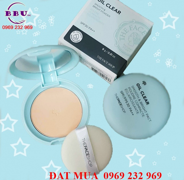 Phấn phủ kiềm dầu The Face Shop Oil Clear Smooth & Bright Pact