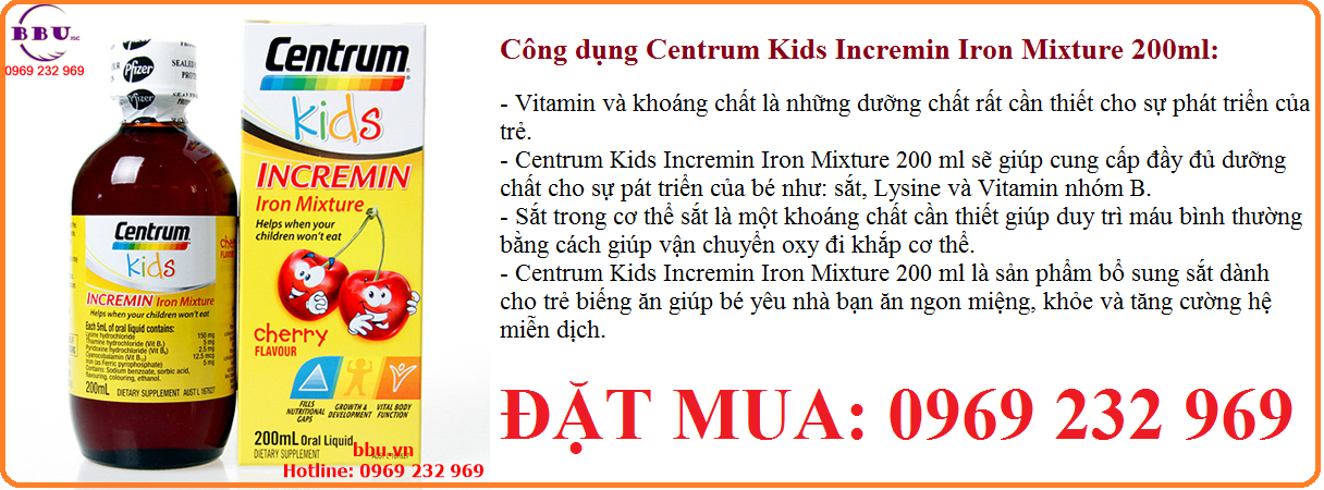 Siro Centrum Kids Incremin Iron Mixture dành cho bé biếng ăn