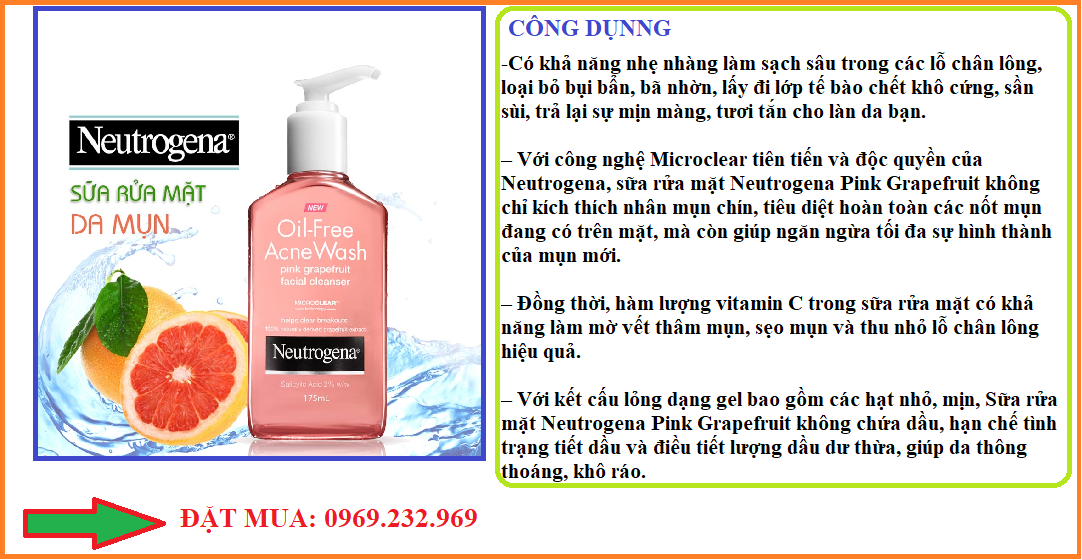 Sữa rửa mặt Neutrogena Acne Oil Free Wash Pink Grapefruit Facial Cleanser Gel