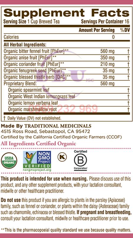 Trà lợi sữa Organic Mother Milk 28g của Mỹ