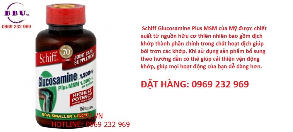 Viên uống bổ khớp Schiff Glucosamine Hcl 1500mg Plus Msm 1500mg của Mỹ 150 viên