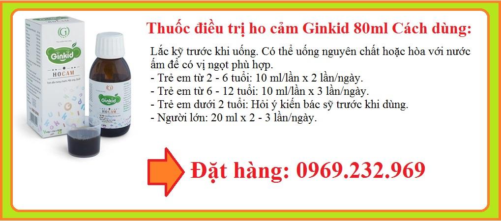 Điều trị ho cảm Ginkid 80ml