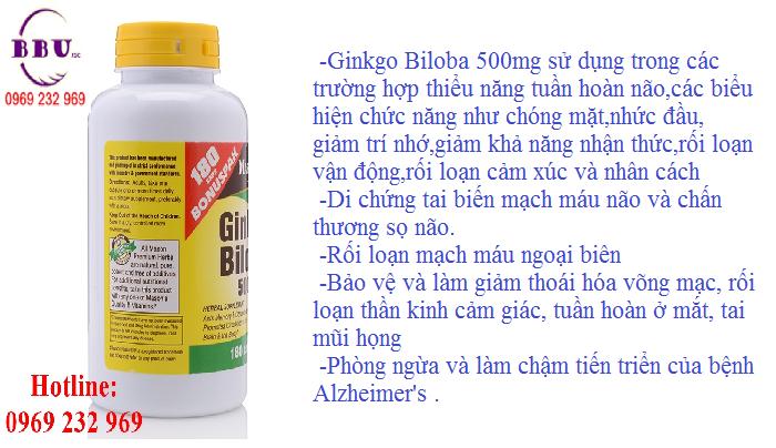 Thuốc điều trị tăng cường trí nhớ Ginkgo Biloba 500mg Hộp 180 Viên
