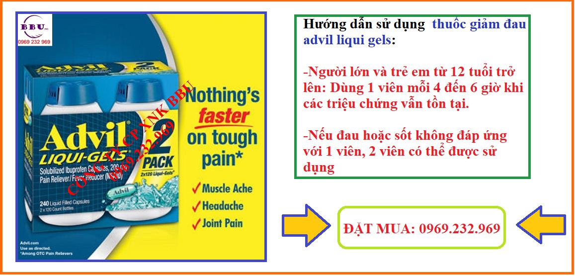 Thuốc giảm đau hiệu quả Advil Liqui Gels