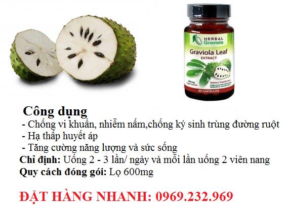 Thuốc tăng cường hệ miễn dịch (graviola (soursop) leaf extract capsules )