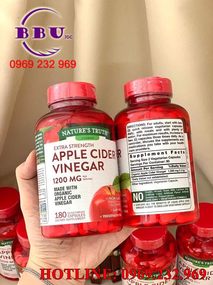 Viên Uống Giấm Táo Hữu Cơ Nature Truth Apple Cider Vinegar 1200 mg