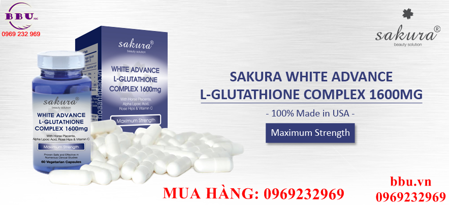 Viên uống trắng da chống lão hóa Sakura White Advance L-Glutathione Complex 1600mg