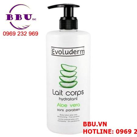 Sữa dưỡng thể Nha đam Evoluderm Lait Corp Hydratant Aloe Vera