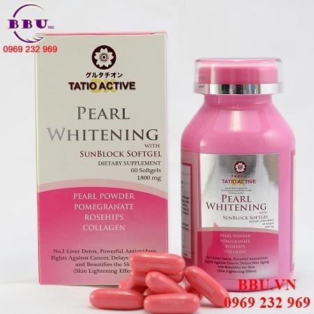 Viên uống giúp làm trắng da Ngọc Trai Tatio Active Pearl Whitening 1800mg 60 viên của Nhật Bản