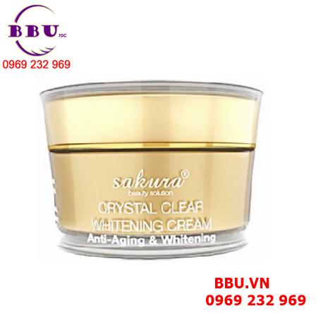 Kem dưỡng trắng da Sakura Crystal Clear Whitening Cream Anti Aging Whitening