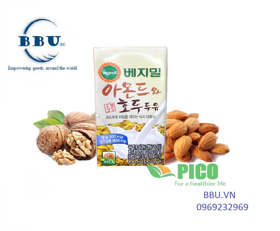 Sữa đậu nành óc chó và hạnh nhân Vegemil (thùng 24 hộp)