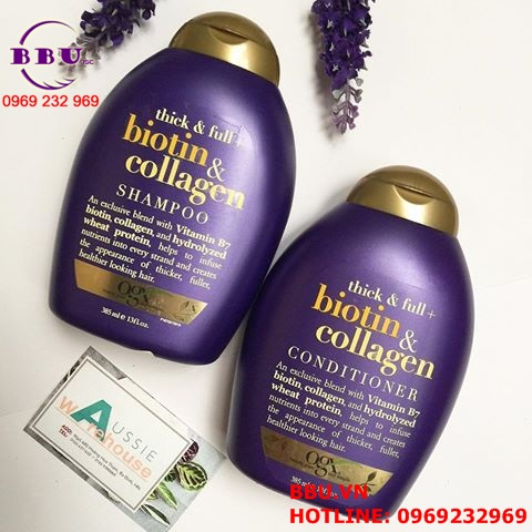 Dầu gội - xả khích thích mọc tóc Biotin và Collagen 88.7ml của Mỹ