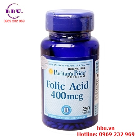 Viên uống hỗ trợ thiếu máu Puritan Pride Folic Acid 400mcg của Mỹ
