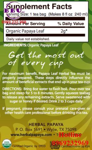 Trà đu đủ điều trị ung thư Organic Papaya Leaf Tea - 24 Tea Bags