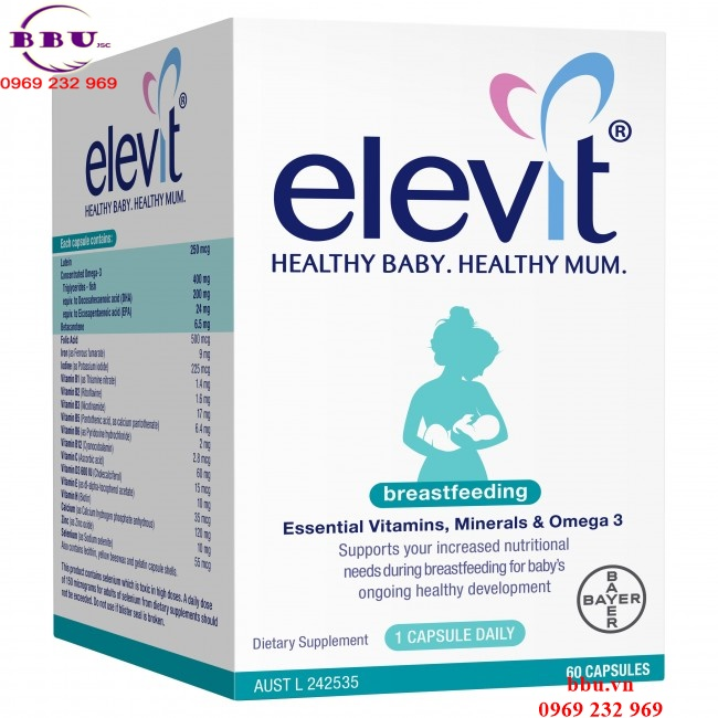 Viên uống Elevit Healthy Baby.Healthy Mum – 60 Viên Dành Cho Bà Bầu Sau Sinh