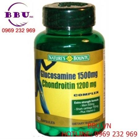 Viên uống hỗ trợ xương khớp của Mỹ Glucosamine Sulfate Chondroitin MSM + Vitamin C Natures Bounty