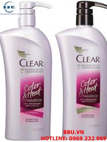 Bộ dầu gội và dầu xả dành cho tóc nhuộm Clear Color and heat Conqueror 647ml của Mỹ