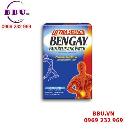Miếng dán giảm đau cỡ lớn BenGay Ultra Strength Pain Relieving Patch 4 miếng của Mỹ