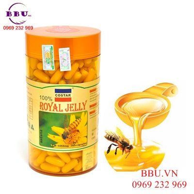 Chống lão hóa, nám, tàn nhan- sữa ong chúa Úc costar Royal Jelly 1450mg 365 viên